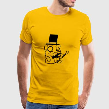fly stock sir mr mustache mustache hat cylinder ge - Men's Premium T-Shirt