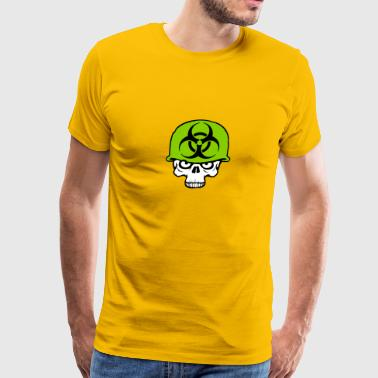 army helmet war zombie skeleton angry soldier figh - Men's Premium T-Shirt