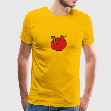 apple worm sweet disgusting hole larva caterpillar - Men's Premium T-Shirt