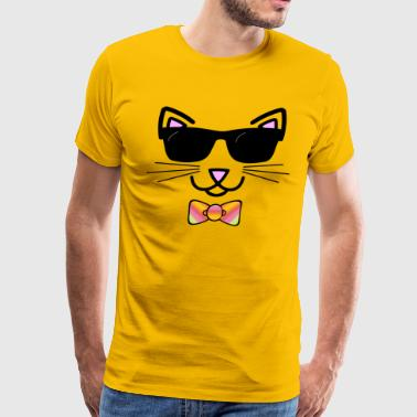 Cool Cat Wearing Bow Tie - Men's Premium T-Shirt
