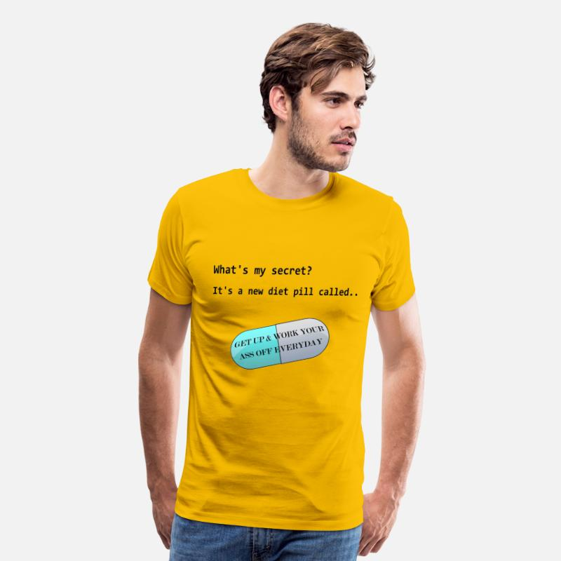 Funny Gym T-Shirts - Diet Pill - Men's Premium T-Shirt sun yellow