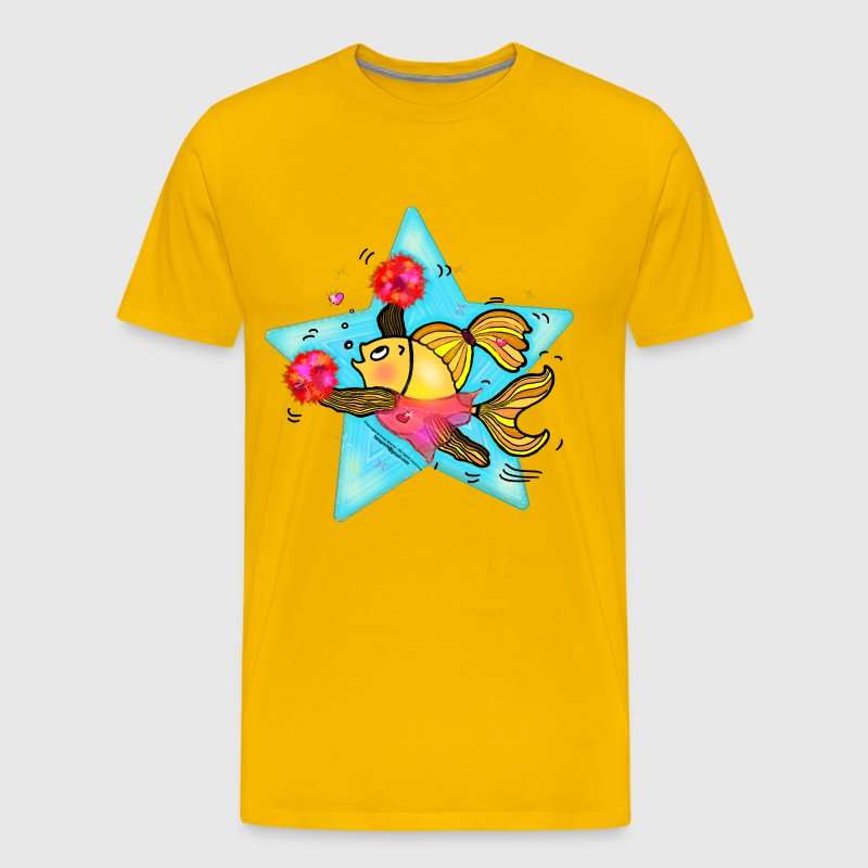 Cheerleader Fish cute funny sparky comics Cheer (Clear Background) , By FabSpark - Men's Premium T-Shirt