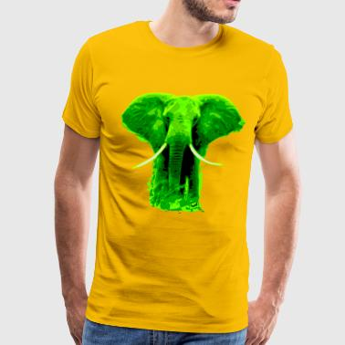 Green Elephant african elephant green colored- digital - Men's Premium T-Shirt