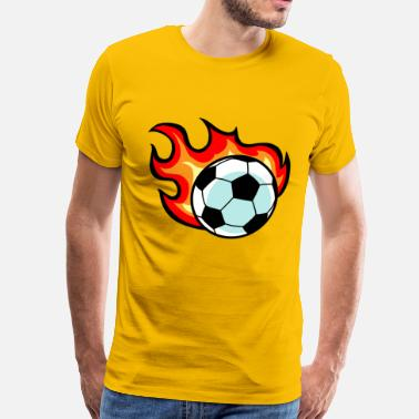 Flaming Ball Flaming Soccer Ball - Men's Premium T-Shirt