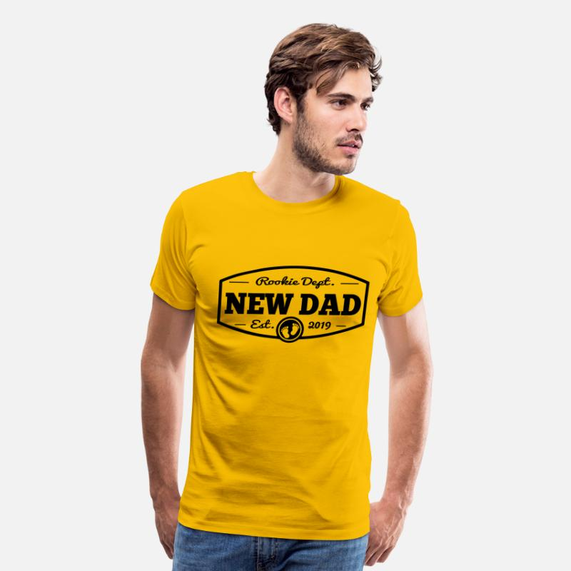 Dad T-Shirts - New Dad 2019 Rookie Dept - Men's Premium T-Shirt sun yellow