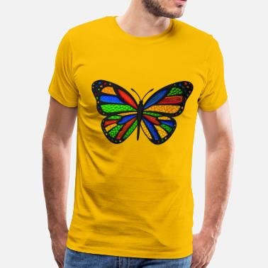 Bright Stained Glass Butterfly - Men's Premium T-Shirt