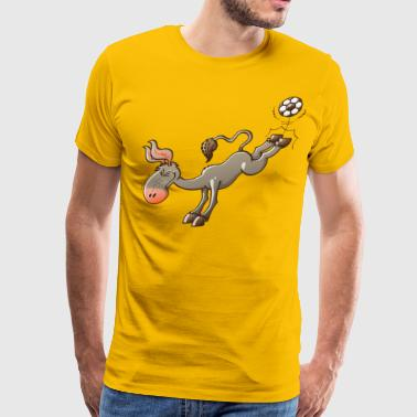 Donkey Kicking Donkey Shooting a Soccer Ball - Men's Premium T-Shirt