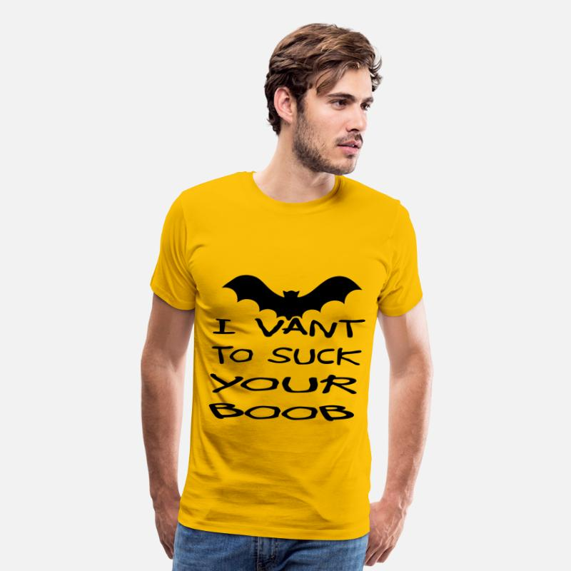 Halloween T-Shirts - I Vant To Suck Your Boob   - Men's Premium T-Shirt sun yellow