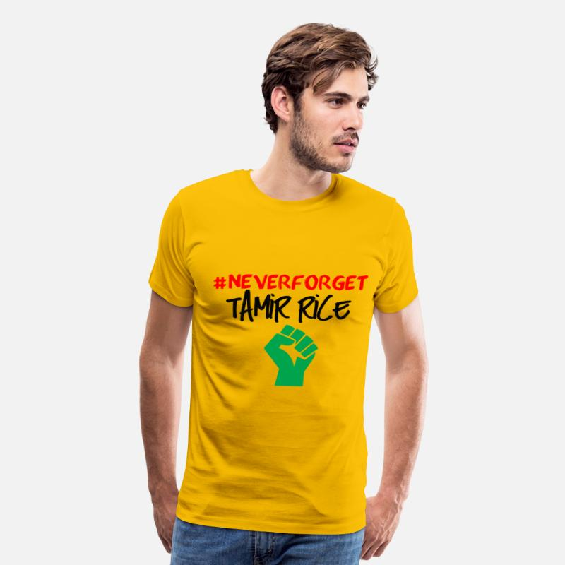 Afro T-Shirts - NEVER FORGET TAMIR RICE RBG black lives AFRO TEAM  - Men's Premium T-Shirt sun yellow