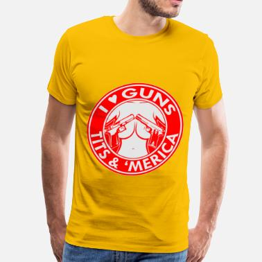 Tits Heart I Love (Heart) Guns, Tits 'Merica  ©WhiteTigerLLC. - Men's Premium T-Shirt