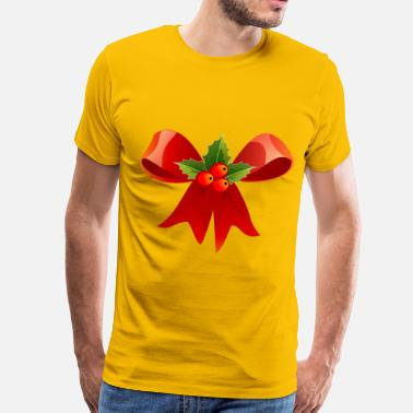Christmas Holly Leaves Christmas Bow with Holly - Men's Premium T-Shirt