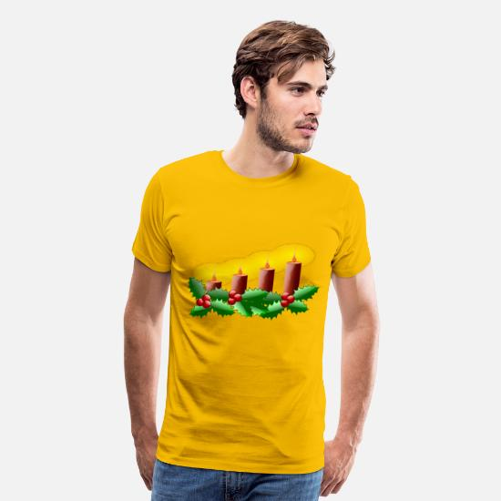 Advent T-Shirts - Lit Advent Candles - Men's Premium T-Shirt sun yellow