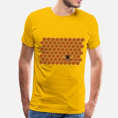 Honey Honeycomb Bee on Honeycomb - Men's Premium T-Shirt