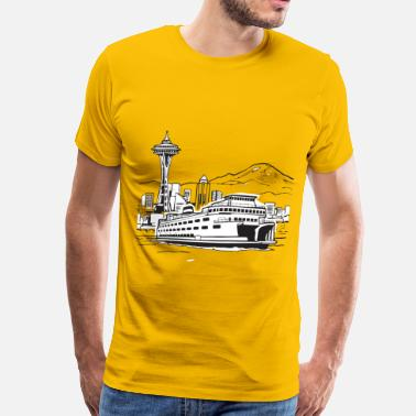 Space Needle Space Needle And Ferry - Men's Premium T-Shirt
