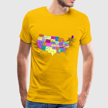 State Name United States Map With Capitals, and State Names - Men's Premium T-Shirt