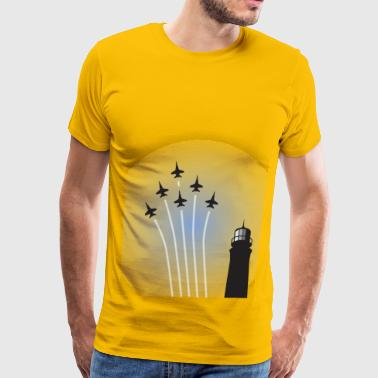 Blue Angels over Lighthouse - Men's Premium T-Shirt