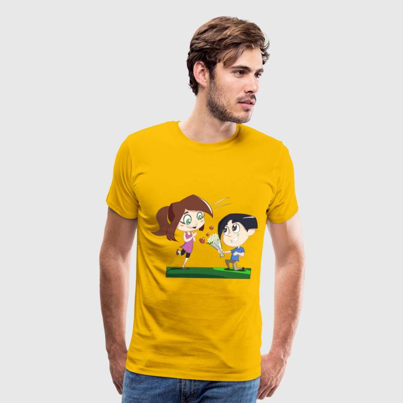 Boy Giving Flowers To Girl - Men's Premium T-Shirt