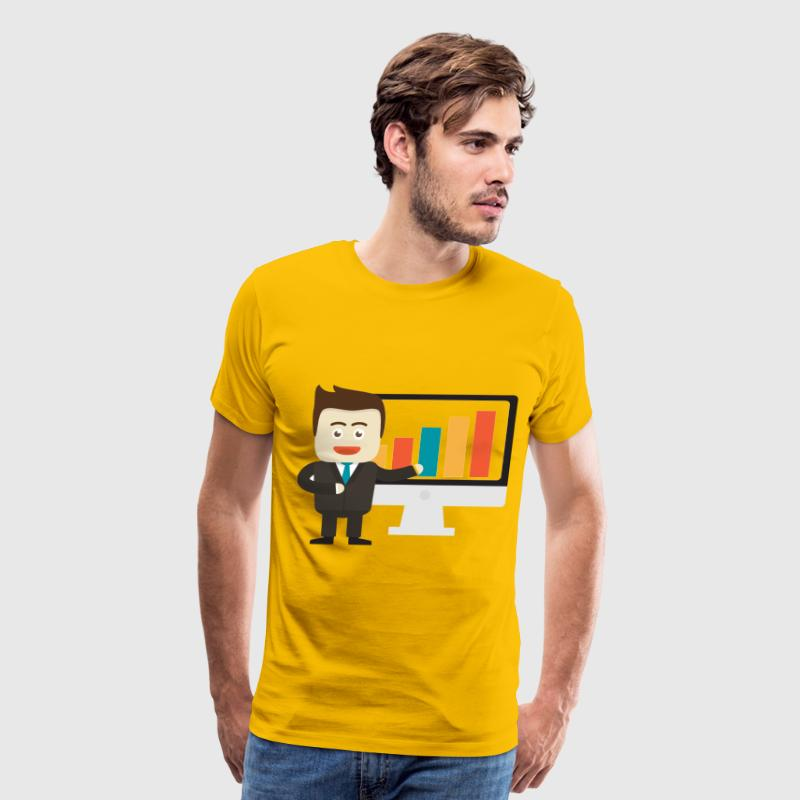 Businessman Pointing To Graph On Monitor - Men's Premium T-Shirt