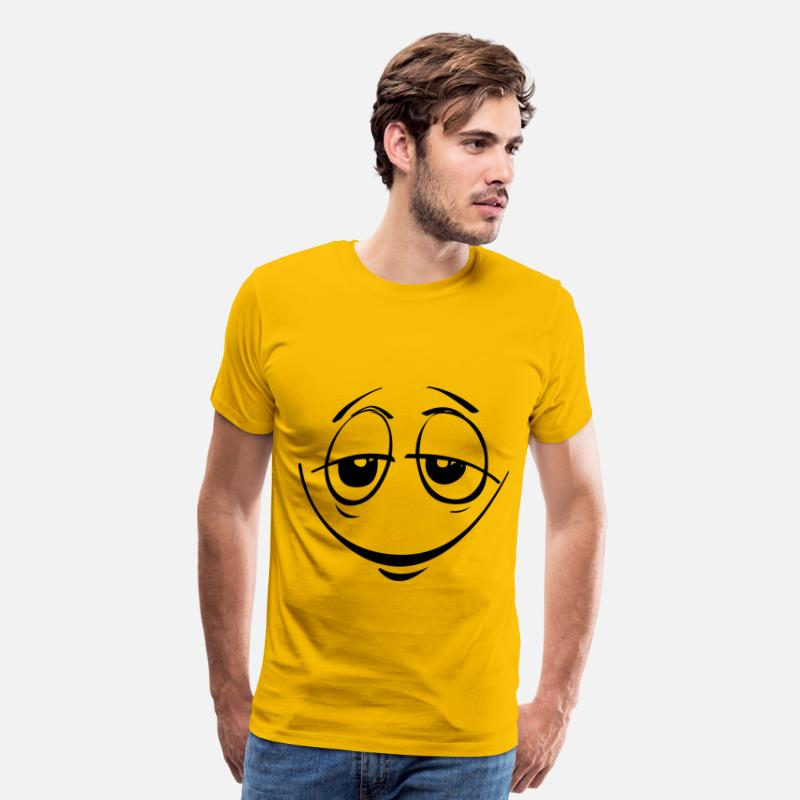 Cool Emoticons T-Shirts - Stoned Smiley Face - Men's Premium T-Shirt sun yellow