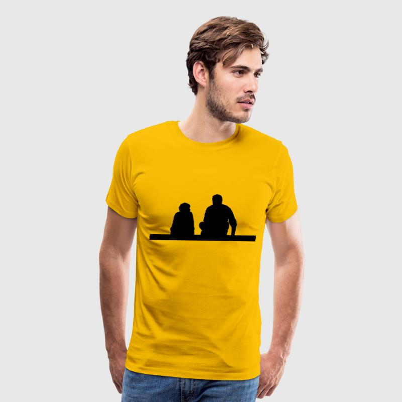 Father And Son Sitting Silhouette - Men's Premium T-Shirt