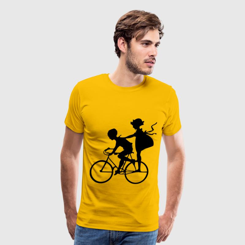 Vintage Brother And Sister Bicycle Silhouette - Men's Premium T-Shirt