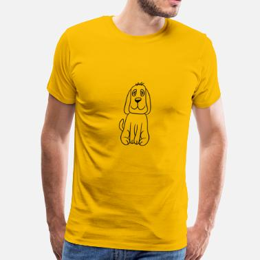 Crazy Design sitting sweet cute little wiener dog funny comic d - Men's Premium T-Shirt