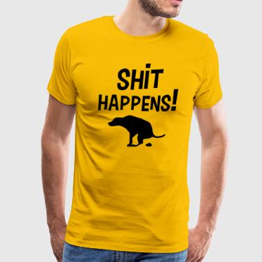 Shit happens text design with dog silhouette - Men's Premium T-Shirt