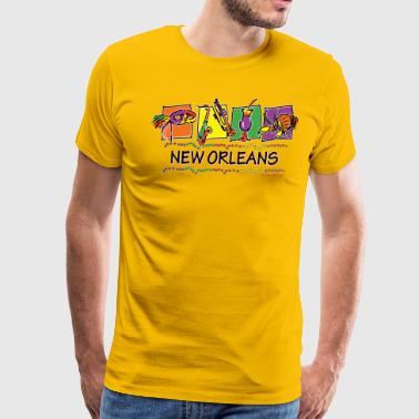 New Orleans Icons and Beads - Men's Premium T-Shirt