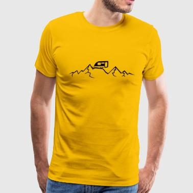 Mountains Alps Caravans above mountains at - Men's Premium T-Shirt