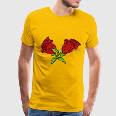 Red Rose With Thorns 2 roses thorns red spring blossom gift love symbol - Men's Premium T-Shirt