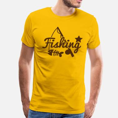Star Fish FISHING star with rod and fish bones - Men's Premium T-Shirt