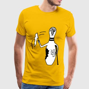 bowling pin with white flag - Men's Premium T-Shirt