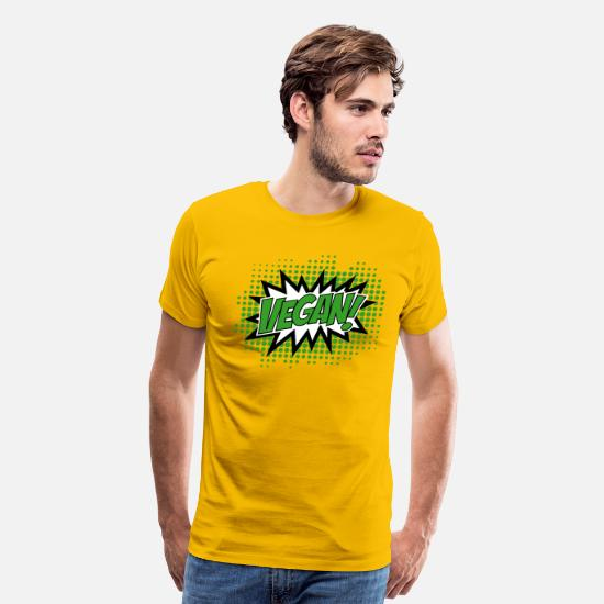 Vegan T-Shirts - Go Vegan, Comic Book Style - Men's Premium T-Shirt sun yellow