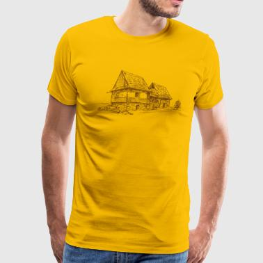 House drawing in pencil shape picture - Men's Premium T-Shirt