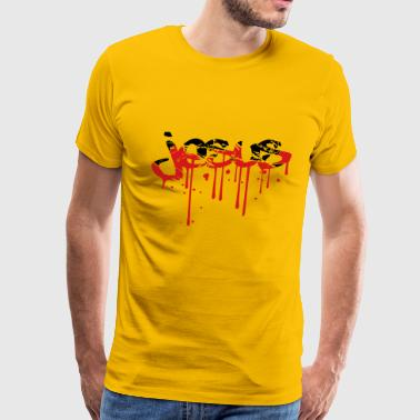 Blood scratch scratches graffiti drops tattoo lett - Men's Premium T-Shirt