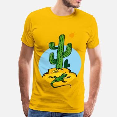 c05997965b3 Cactus cactus and lizard nature plant reptilesun - Men's Premium T-Shirt
