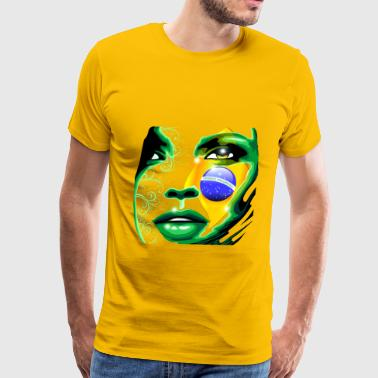 Brazil brazil girl art flag football - Men's Premium T-Shirt