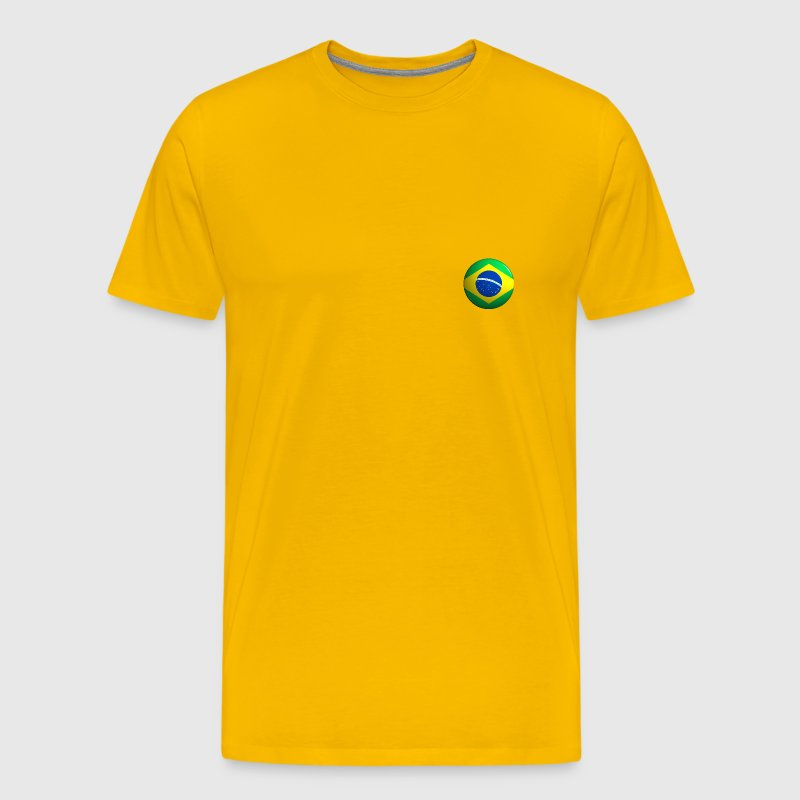 Brazil Flag Button round - Men's Premium T-Shirt