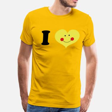 Rosy Cheeks i heart with cute smile and rosy cheeks - Men's Premium T-Shirt