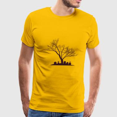 Haunted Tree & Grave | Halloween - Men's Premium T-Shirt