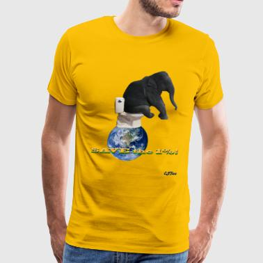 Save The Elephants Save the 1% - Elephant On Top of the World - Men's Premium T-Shirt