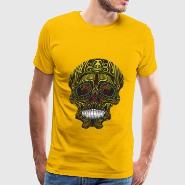 Fall Colorful Tribal Skull - Men's Premium T-Shirt