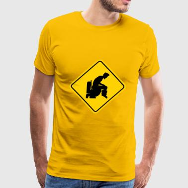 Caution Logos Warning sign badge logo caution caution danger zon - Men's Premium T-Shirt