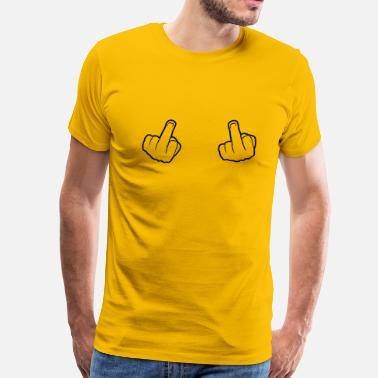 Middle Finger Glove 2 hands showing gloves stinkefinger middle finger  - Men's Premium T-Shirt