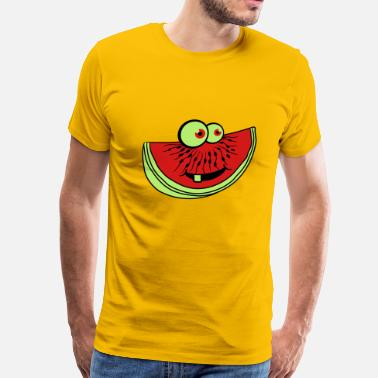 Melon Slice melon piece slice watermelon eating delicious comi - Men's Premium T-Shirt