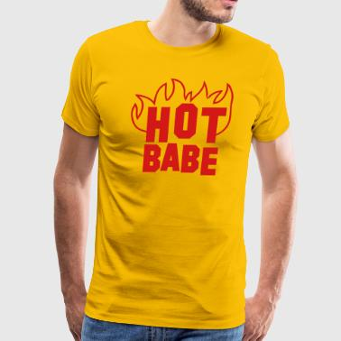 Hot babe with fire red - Men's Premium T-Shirt