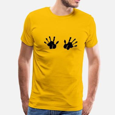 Boobs Handprint 2 handprints tits boobs grab - Men's Premium T-Shirt