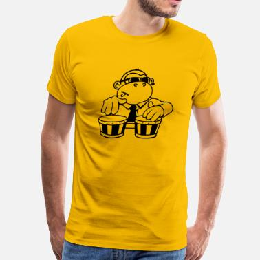 Latin Percussion The cool monkey plays the bongos - Men's Premium T-Shirt