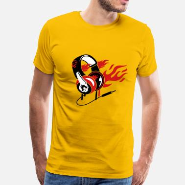 Flame Symbol Headphones and flames - Men's Premium T-Shirt