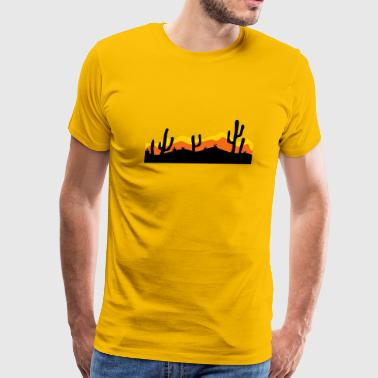 desert evening night sunset sunrise kakten cactus  - Men's Premium T-Shirt